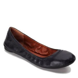 Lucky Brand Emmie Black Leather Flats Size 6.5
